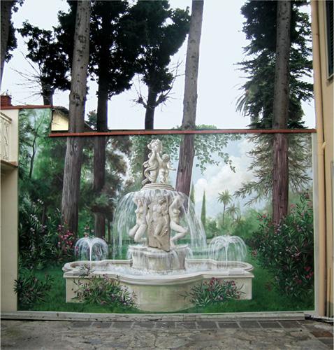 Trompe l'Oeils - Maurizio Magretti - finto giardino con fontana