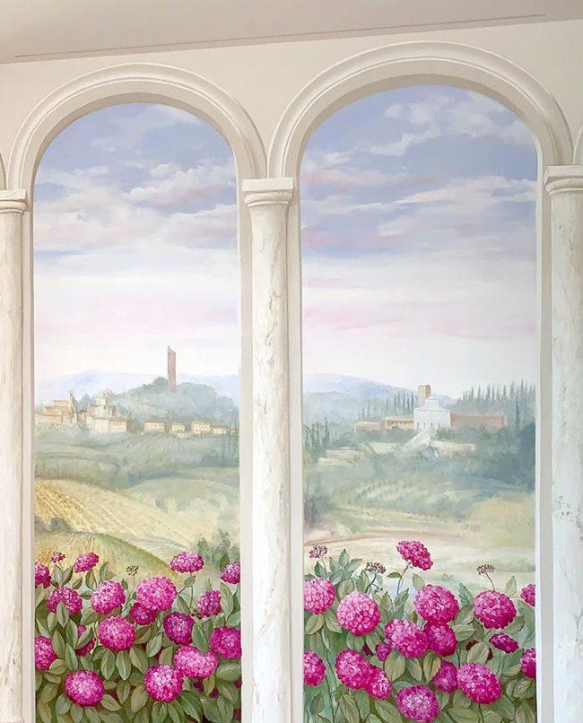 trompe l oeil finestra finta dipinto parete maurizio magretti decorazioni pittore