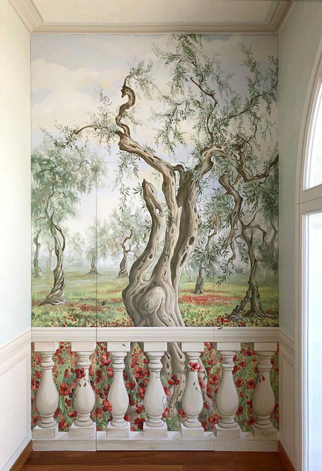 trompe l oeil porta finta dipinto parete maurizio magretti decorazioni pittore