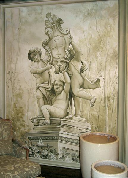 Interno abitazione privata - decorazione monocromatica su parete