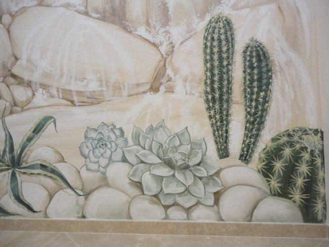 Decori con piante grasse sulla parete - Maurizio Magretti