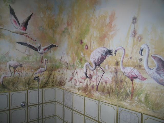 Dipinto con gnu e natura in bagno - Maurizio Magretti