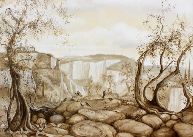 Balze di Volterra, dipinto su tavola, Maurizio magretti pittore