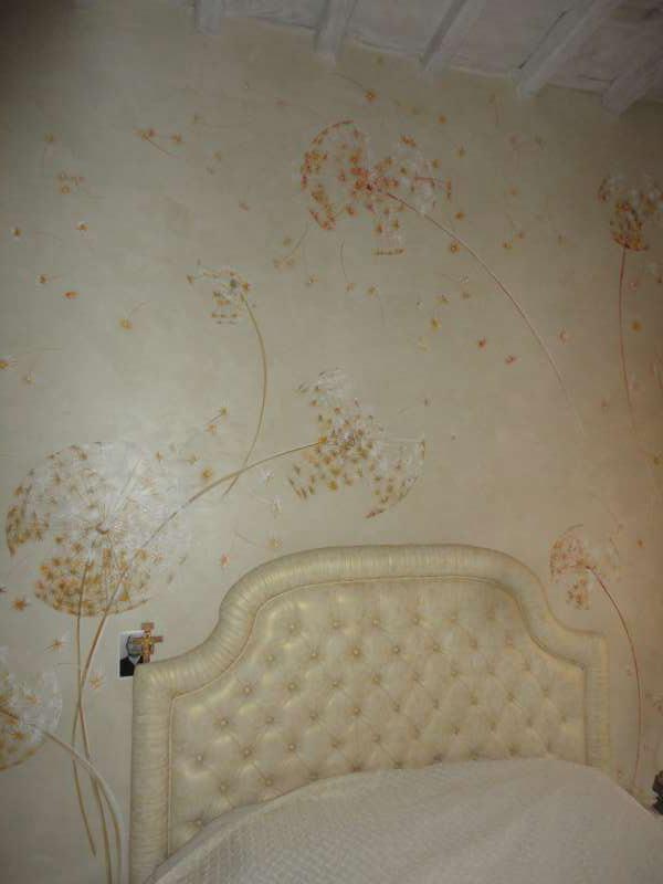 Testata letto con fiori - Maurizio Magretti Decorazioni Moderne