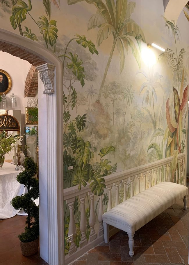 decorazioni esotiche floreali piante villa trompe l oeil maurizio magretti pittore