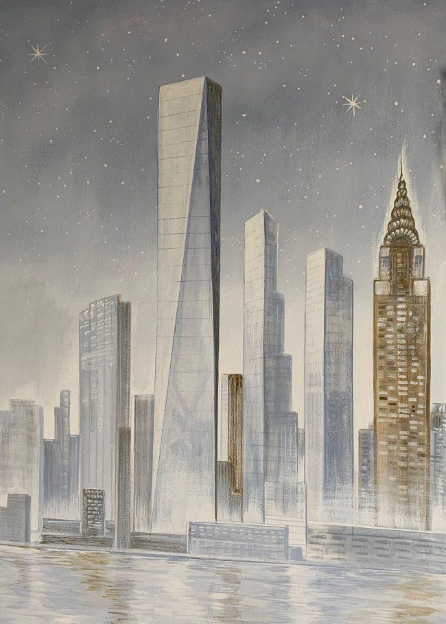decori bagno paesaggio moderno citta grattacielo trompe l oeil maurizio magretti pittore