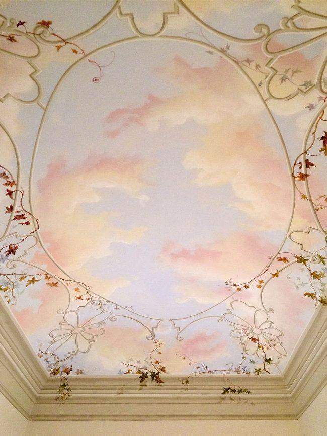 decori soffitto classico gazebo tralcio maurizio magretti pittore