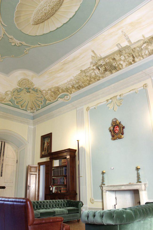 Villa privata - Il paesaggio monocromatico - decori su soffitto e pareti