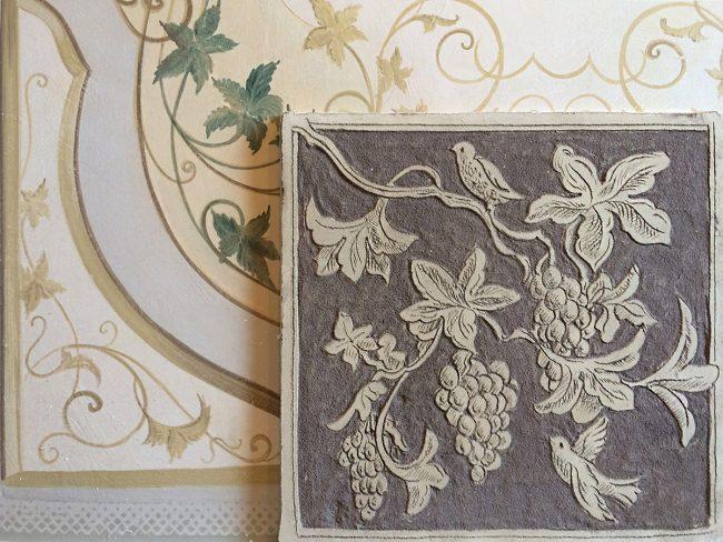 Decorazioni a sgraffito - Confronto con lo stesso motivo decorato con tempere