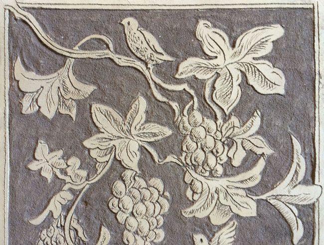 Decorazioni a sgraffito - Tecnica classica con foglie di vite - Maurizio Magretti