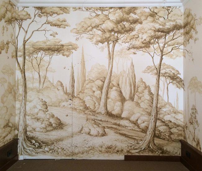 Pineta toscana sulle colline - Paesaggio monocromatico