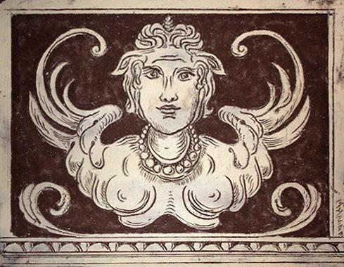 Decorazioni a sgraffito - Copia di particolare della facciata della Scuola Normale Superiore di Pisa