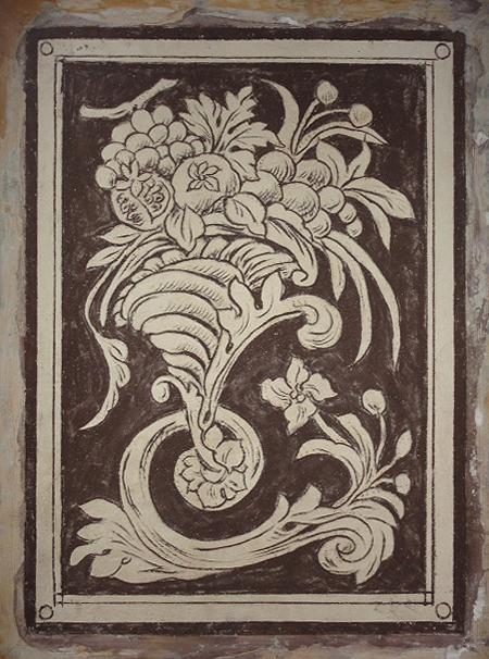 Decorazioni a sgraffito con motivo classico - Frutta con foglie d'acanto