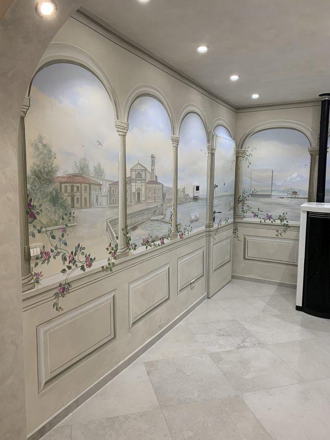 Evoluzione lavori per decorazione interni - trompe l'oeils - Magretti