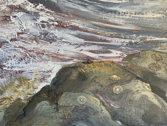 quadri spiaggia mare risacca sabbia conchiglie maurizio magretti pittore fecondita pane nascita onde